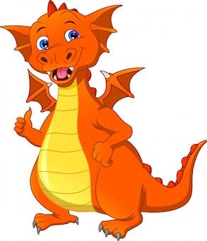 Dessin animé, dragon, pouce haut