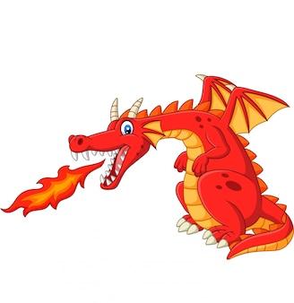 Dessin animé dragon rouge crachant du feu