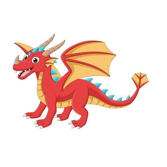 Dessin animé dragon rouge heureux sur blanc