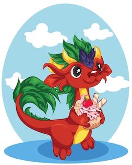 Dessin animé dragon rouge avec le petit gâteau aux cerises