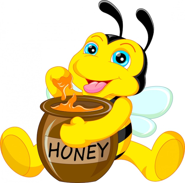 Dessin animé drôle d'abeille avec du miel