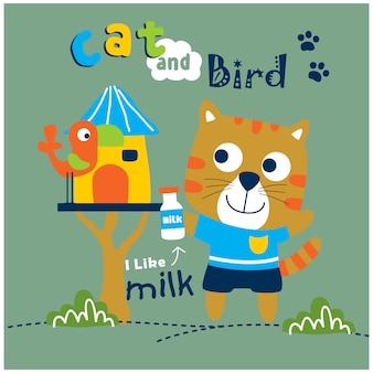 Dessin animé drôle d'animal chat et oiseau