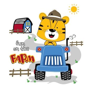 Dessin animé drôle d'animal de chat et de tracteur