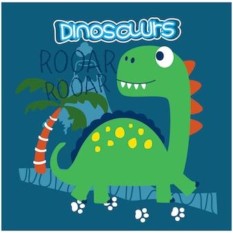 Dessin animé drôle d'animal de dinosaure