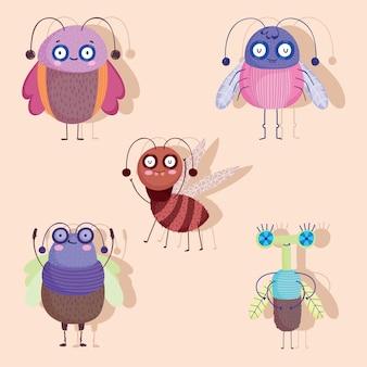 Dessin animé drôle d'animaux bugs avec des icônes d'ombre mis en illustration