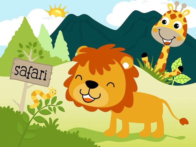 Dessin animé drôle d'animaux dans la jungle