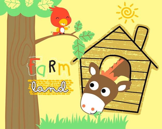 Dessin animé drôle d'animaux de ferme