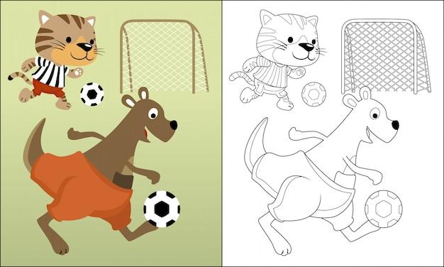 Dessin animé drôle d'animaux jouant au football