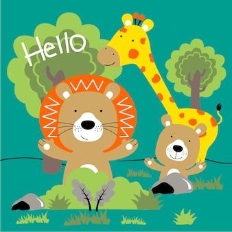 Dessin animé drôle d'animaux de zoo
