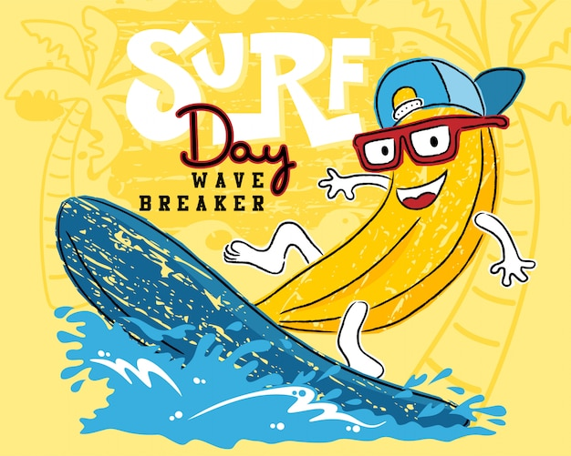 Dessin animé drôle de banane jouant à la planche de surf