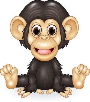 Dessin animé drôle bébé chimpanzé assis isolé