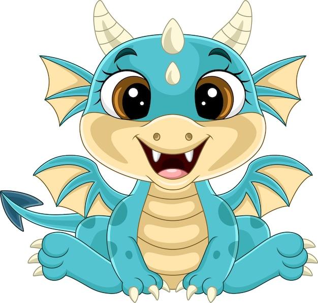 Dessin animé drôle de bébé dragon assis