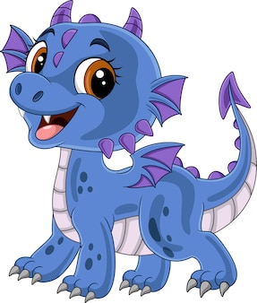 Dessin animé drôle de bébé dragon bleu posant