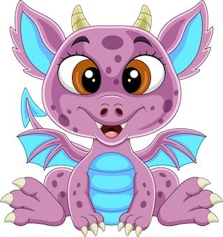 Dessin animé drôle de bébé dragon rose assis