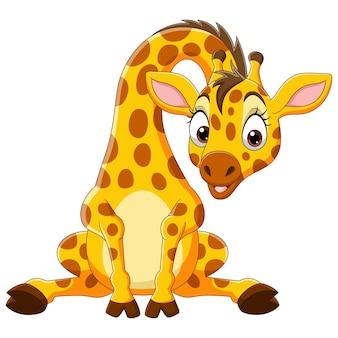Dessin animé drôle bébé girafe assis