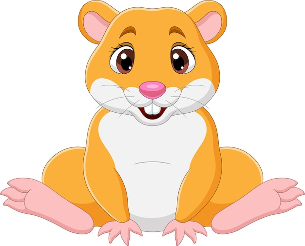 Dessin animé drôle bébé hamster assis
