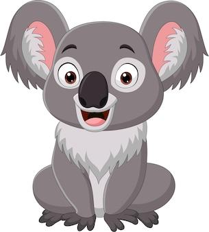 Dessin animé drôle bébé koala assis