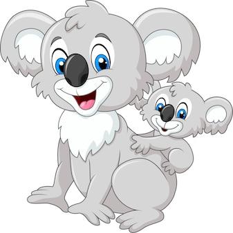 Dessin animé drôle bébé koala sur le dos de maman