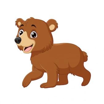 Dessin animé drôle bébé ours marchant