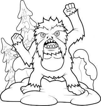 Dessin Animé Drôle Bigfoot Vecteur Premium