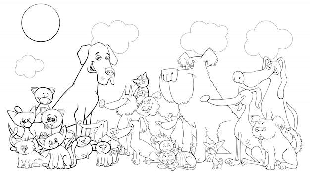 Dessin animé drôle chien et chats livre de coloriage