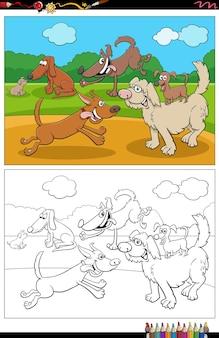 Dessin animé drôle chiens et chiots groupe page de livre de coloriage