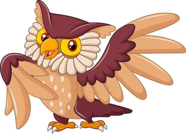 Dessin animé drôle chouette oiseau posant
