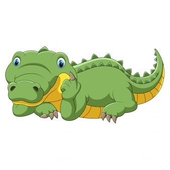 Dessin animé drôle de crocodile