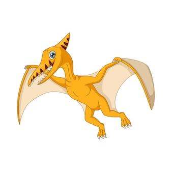 Dessin animé drôle de dinosaure ptérodactyle volant