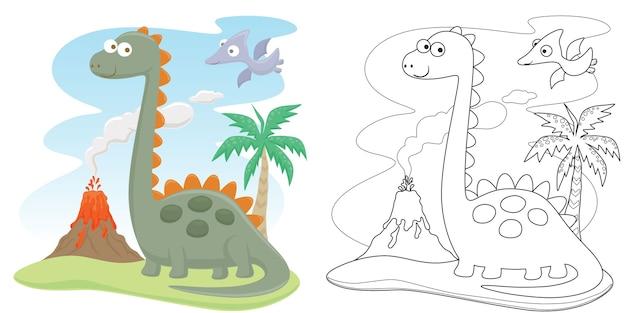 Dessin animé drôle de dinosaures avec éruption du volcan