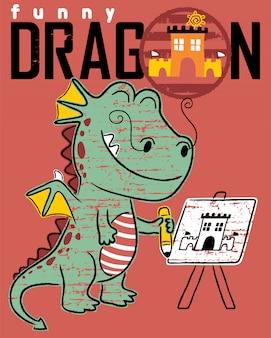 Dessin animé drôle de dragon peignant un château