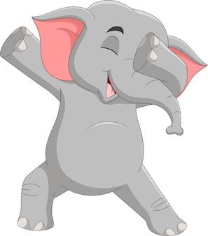 Dessin animé drôle d'éléphant tamponnant la danse