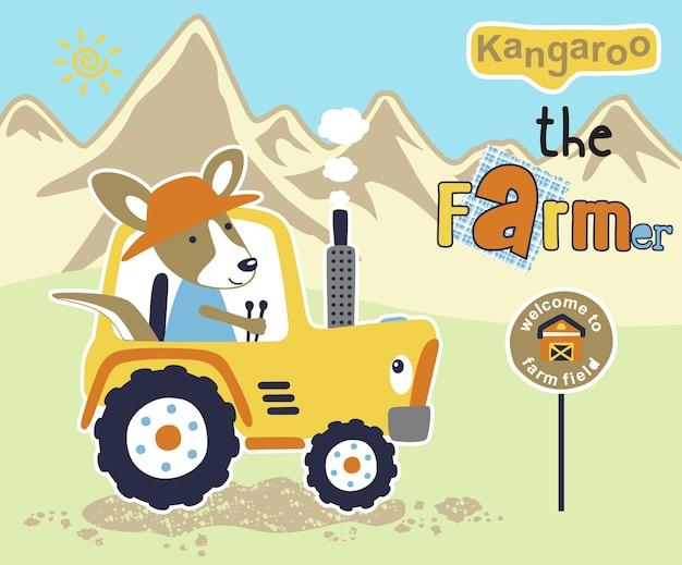 Dessin animé drôle jaune avec mignon kangourou