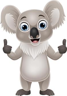Dessin animé drôle koala abandonnant le pouce vers le haut