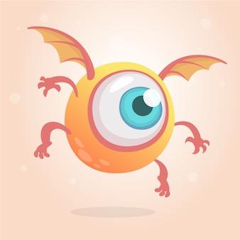 Dessin animé drôle de monstre aux yeux