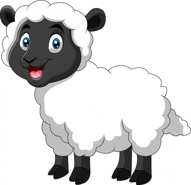 Dessin animé drôle de mouton un sourire