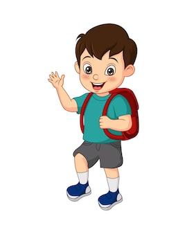 Dessin animé drôle petit garçon avec sac d'école en agitant sa main