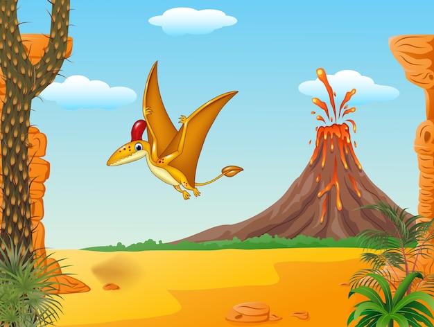 Dessin animé drôle de ptérodactyle volant