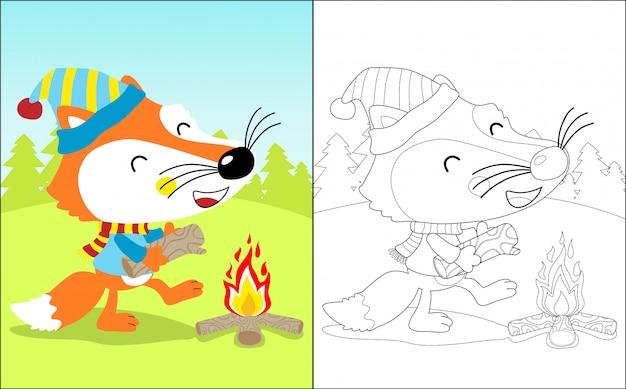 Dessin animé drôle de renard avec un feu de joie