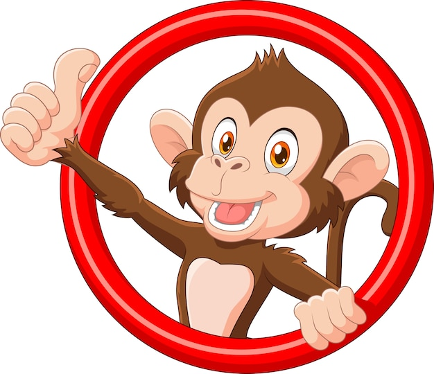 Dessin animé drôle de singe pouce en l'air
