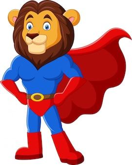 Dessin animé drôle super-héros lion posant