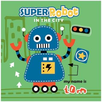 Dessin animé drôle de super robot