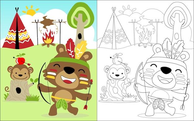 Dessin animé drôle de tribus indiennes