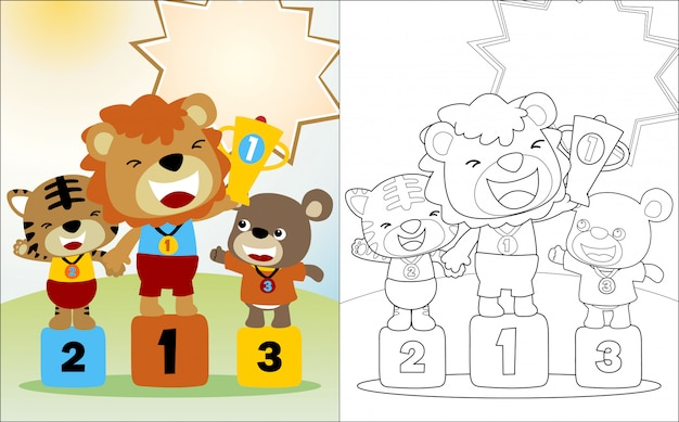 Dessin animé de drôles d'animaux sur le podium du concours gagnant
