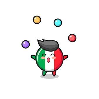 Le dessin animé du cirque du drapeau italien jonglant avec une balle, un design de style mignon pour un t-shirt, un autocollant, un élément de logo