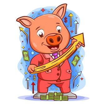 Le dessin animé du cochon tenant le graphique supérieur avec le visage heureux