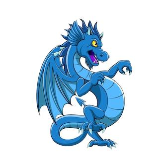 Le dessin animé du dragon bleu avec la bonne illustration pleine de couleur