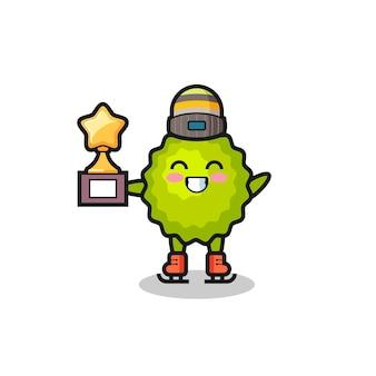 Le dessin animé de durian en tant que joueur de patinage sur glace tient le trophée du vainqueur, un design de style mignon pour un t-shirt, un autocollant, un élément de logo