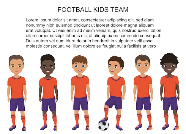 Dessin animé école football soccer enfants équipe en uniforme isolé.