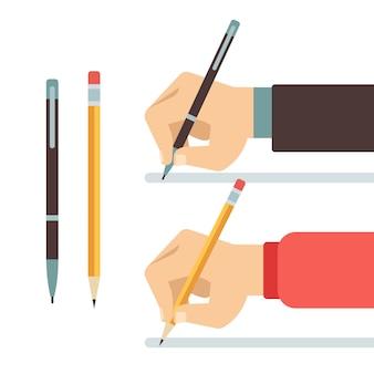 Dessin animé écrit les mains avec illustration plat stylo et crayon. écrire avec un crayon ou un stylo.